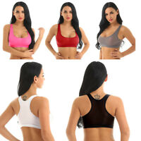 Women Ultra Thin Sheer Scoop Neck Racer Back Crop Tank Top Yoga Sports Bra Sexy
