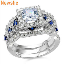 Silver Wedding Engagement Ring Set Size 8 New listing Newshe Princess White Blue Cz Sterling