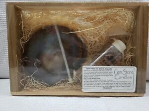 NIB NATURAL TAN/BLUE AGATE CRYSTAL SLICE CANDLE KIT WOODEN CRATE GEMSTONE CANDLE
