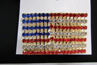 Women USA America Flag Pin Brooch Blue Red Silver Bling 4th July Fashion Jewelry