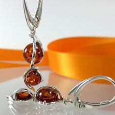 A263 Ohrringe 925 Sterling Silber Schmuck baltische Bernstein Amber Modern Edel