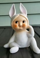 """VINTAGE SNOW BUNNY EASTER PIXIE CERAMIC FIGURINE BANK HOLIDAY OLD RABBIT 7"""" tall"""