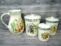 Vintage Canister Pitcher Set Made in Italy Fruit Himark Country Farmhouse