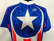 Performance Cycling Jersey Mens Large L New Red White Blue Star NWT