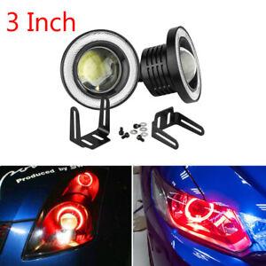 2x High Power Car 3 INCH Projector LED Fog Light w/ Red COB Halo Angel Eye Rings