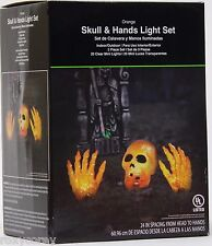 Halloween Orange Skull and Hands Light Set 20 Clear Lights Indoor/Outdoor NIB