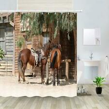Horse Shower Curtain Fabric Curtains Rustic Farm Animal in American Western Town