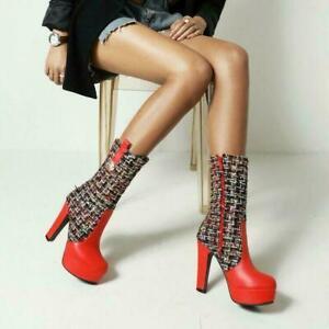 New Fashion Pu Leather Zip Mid-Calf Boots Women Round Toe Platform shoe oversize