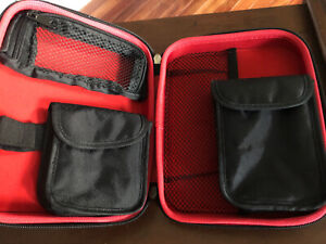 Deluxe Hard Carrying Case For Tomtom or Garmin GPS - Black w/Red Interior EUC