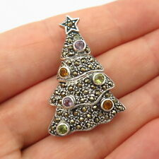 925 Sterling Silver Real Multi-Color Gemstone Christmas Tree Pin Brooch