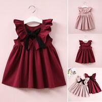 US Toddler Kids Girl Princess Dress Casual Sundress Clothes Party Dresses Tops