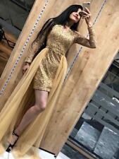 Sexy Damen Abendkleid Hochzeitkleid Ballkleid Gold