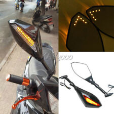 Black Smoke LED TURN SIGNAL INTEGRATED Motorcycle Mirrors For Naked bikes 8/10mm