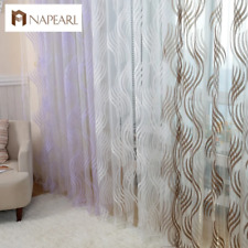 Modern style fashion design jacquard striped curtain tulle fabrics for bedroom w