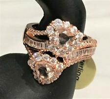 Heart Ring Rose Gold & Crystal Bling 925 Sterling Silver FZN CN Size 10 NWT