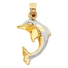 Sandblast & Polish Dolphin 14k Two Tone Colored Pure Gold Charm Pendant Necklace
