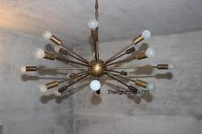 18 Lights Mid Century Modern Antique Brass Sputnik Chandelier light fixture