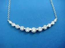 1 CARAT T.W. GRADUATED  DIAMONDS CURVED HIGH END BAR NECKLACE, OPEN DIAMONDS