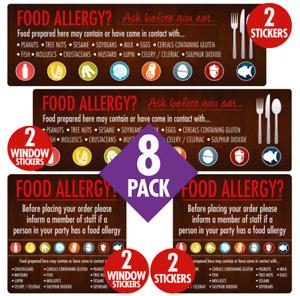 Food Allergy Sticker Sign Pack Pub Restaurant Allergen Warning Notice Pack of 8