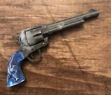 Vintage Miniature Toy Marx Gun Steer Handle 6 Shooter Revolver 3""