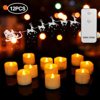 24/12x Tea Lights Candles LED FLAMELESS FLICKERING Battery Operated Wedding XMAS