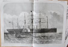 """1857 ANTIQUE PRINT - THE """"GREAT EASTERN"""" AT SEA, BY EDWIN WEEDON PLUS CROSS SECT"""