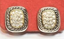 Silvertone Clear Rhinestones Square Shape Clip-On Earrings