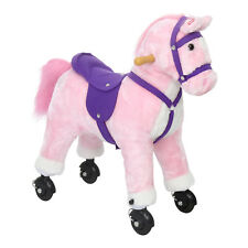Kids Plush Toy Rocking Horse Ride On Pony Rocker Toy with Neigh Sounds