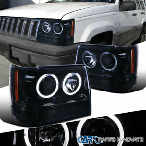 For 93-96 Jeep Grand Cherokee Glossy Black Dual Halo Projector Headlights Lamps