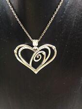 Brighton Silver  Double Heart Crystal Pendant on Flexible Chain.