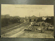 cpa 43 st pal de mons la gare st pal st romain train attelage bois