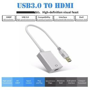 USB 3.0 2.0 To HDMI 1080P Audio Video Adaptor Converter Cable For PC Laptop HDTV