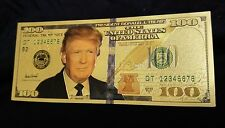 Combo lot! 2 each Trump 24K Gold Foil $100.00 and 1000.00 U.S. Novelty Banknotes