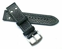 22mm Black Rivet Style Buffalo-Grain Leather Contrast Stitch Mens Watch Band