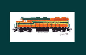 """Escanaba & Lake Superior GP38 #400 11""""x17"""" Matted Print Andy Fletcher signed"""
