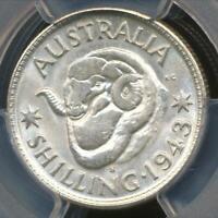 Australia, 1943(s) One Shilling, 1/-, George VI (Silver) - PCGS MS64 (Ch-Unc)