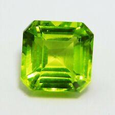 Natural Loose Gemstone 8.75 Ct Certified Square Emerald Shape Green Peridot
