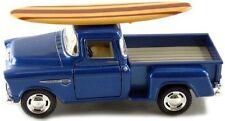 Kinsmart 1955 Chevy Stepside 3100 Pick Up Truck 1:32 diecast w/ Surfboard Blue