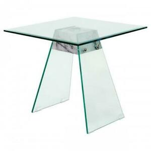 Talladega Side Glass Table - Marble effect base