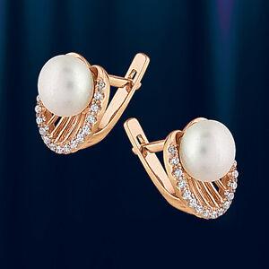 Russisches Gold Schmuck Ohrringe aus Rotgold 585 mit Perlen OR91445