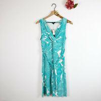 NWT TALBOTS Women's Sleeveless Midi Dress V-Neck Turquoise White Floral Size M P