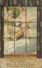 Rose O'Neill Kewpies Outside Window c1910 Christmas Postcard