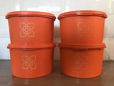 More details for set 4 stackable 1970s vintage orange harvest sunburst tupperware tubs containers