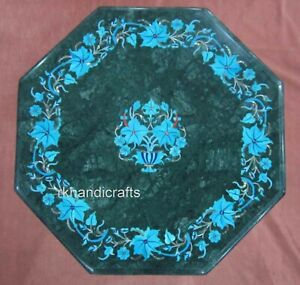 12 Inches Marble Coffee Table Top Inlay with Turquoise Stone Work Corner Table