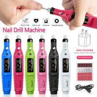 Electric Nail Drill File Acrylic Art File Manicure Pedicure Portable Machine Kit