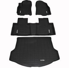 Front, Second, & Cargo Black Floor Mats for a 2013 - 2018 Toyota Rav4