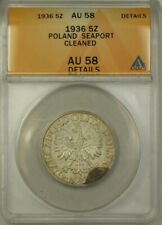 1936 Poland Seaport Silver 5 Zatotych Coin ANACS AU 58 Cleaned Details