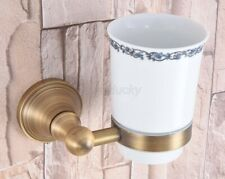 Antique Brass Toothbrush Holder Single Ceramic Cup Holder Wall Mounted wba166