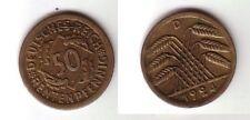 50 Rentenpfennig Messing Münze Weimarer Republik 1924 D Jäger 310 (100211)