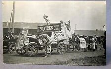 circa 1910 LEE TIRES Parade Car CLOWNS M.W.A. banner RPPC Real Photo postcard